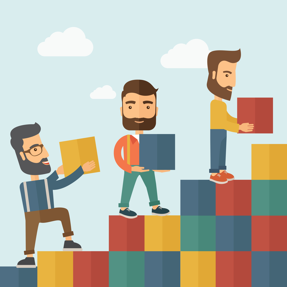 Three hipster Caucasian men with beard carrying blocks putting one by one going up as a sign of increasing sales. Team building concept.  A contemporary style with pastel palette soft blue tinted background with desaturated clouds. Vector flat design illustration. Square layout.