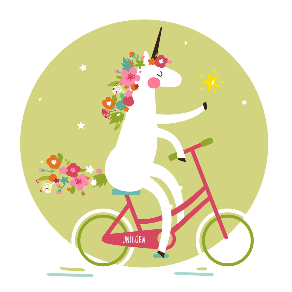 Cute vector illustration of a unicorn on a bicycle in the stars