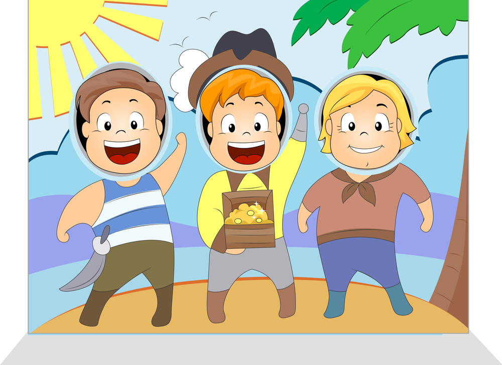 Illustration of Kids Having Their Picture Taken
