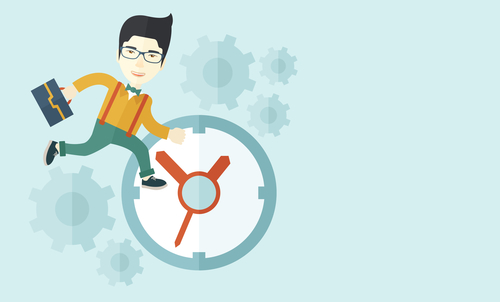 A japanese worker with briefcase is late to Work with a clock symbol. A contemporary style with pastel palette soft blue tinted background. Vector flat design illustration. Horizontal layout with text space in right side.