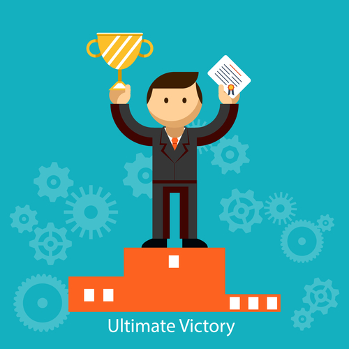 Businessman winner standing in first place on a podium holding up an award certificate and trophy as he celebrates his victory  vector illustration