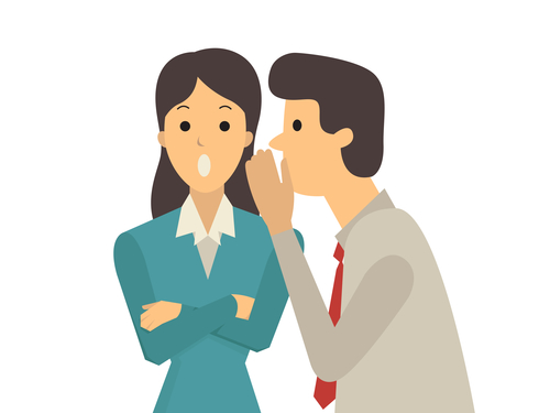 Businessman whispers to his colleague in office about gossip, rumor, or secrets.