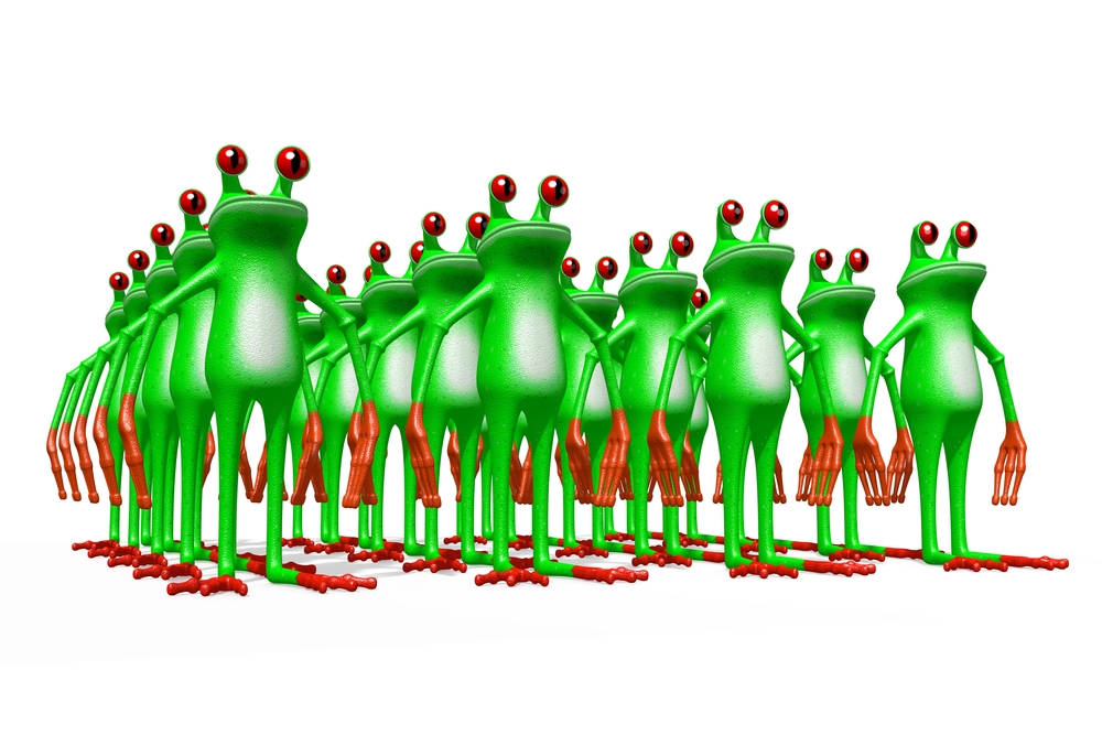 3D cartoon frogs on white background.