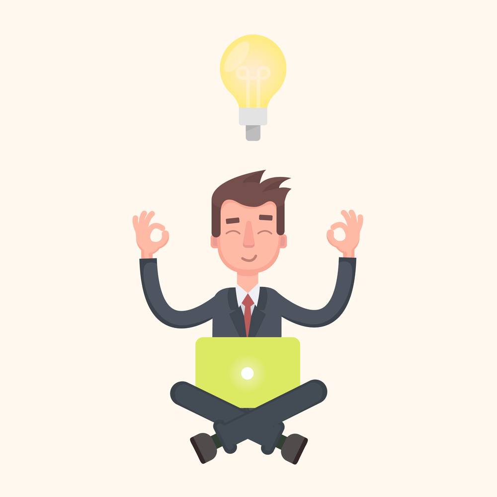 Businessman thinking during meditation, cartoon. Vector illustration in a flat style.