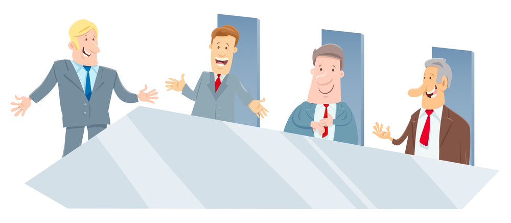 Cartoon Illustration of Board of Directors or Businessmen Meeting
