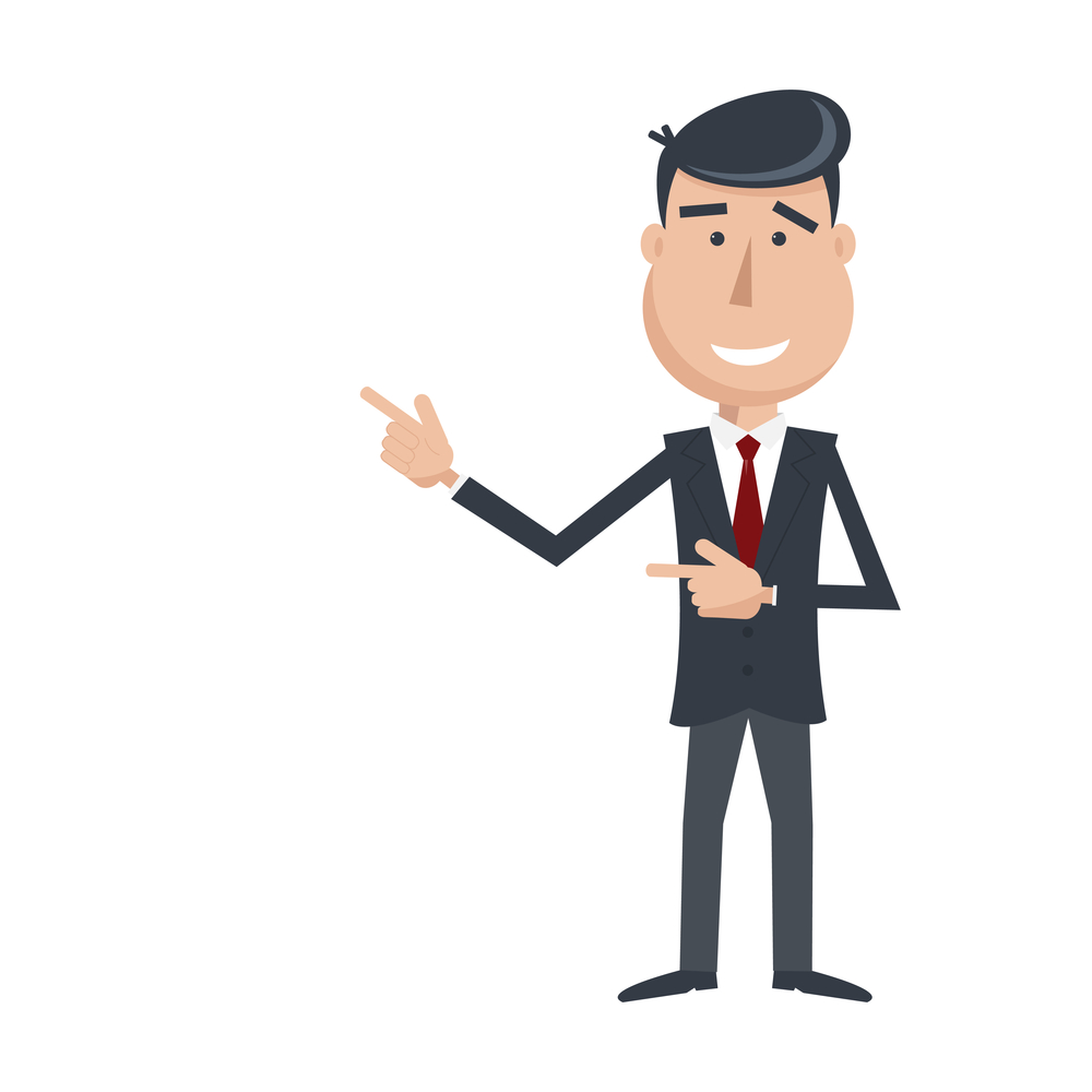Funny man in suit and tie, gesturing with his hands. Cartoon businessman. Simple flat vector. EPS 10.