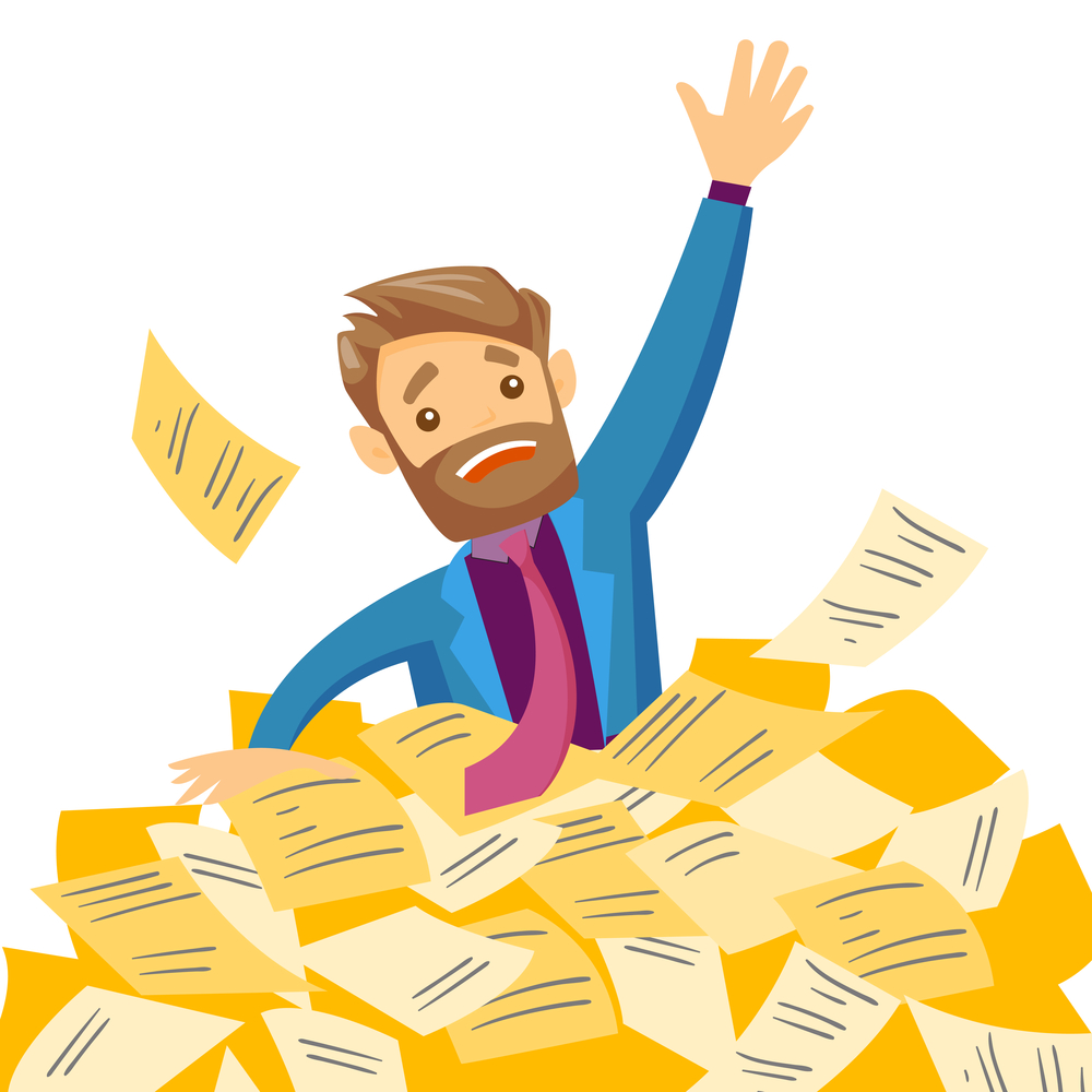 Young overworked caucasian white business man sinking in the heap of papers. Stressed businessman having a lot of paperwork. Paperwork concept. Vector cartoon illustration isolated on white background