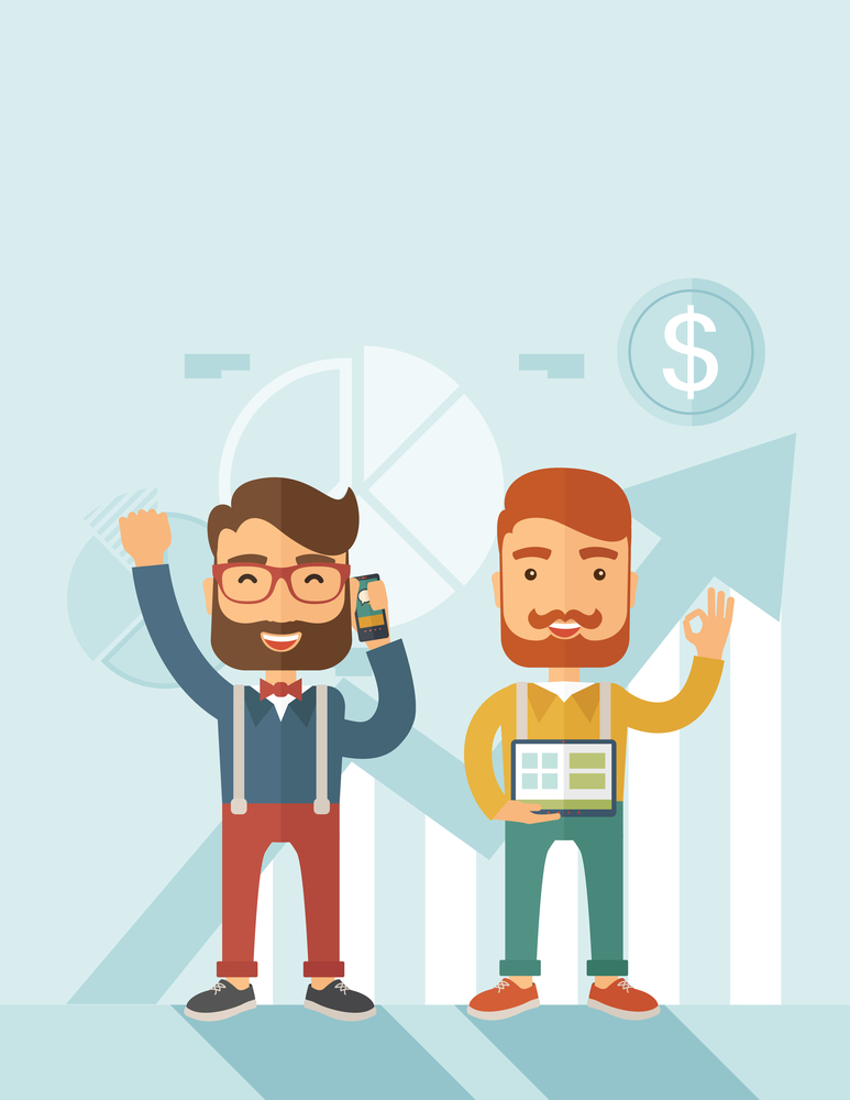 Two hipster Caucasian employees with beard standing happy for the certicate award they received. Winner, happy concept. A contemporary style with pastel palette soft blue tinted background. Vector flat design illustration. Vertical layout with text space on top part.