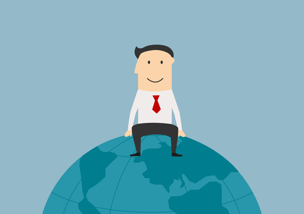 Global market, international business and successful people theme. Cartoon successful joyful businessman sitting on the top of the world