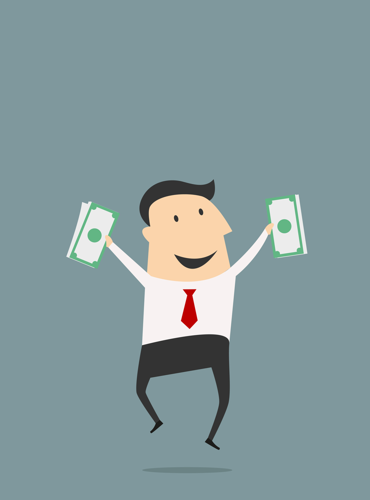 Funny cartoon businessman jumping with dollars packs. Flat vector concept