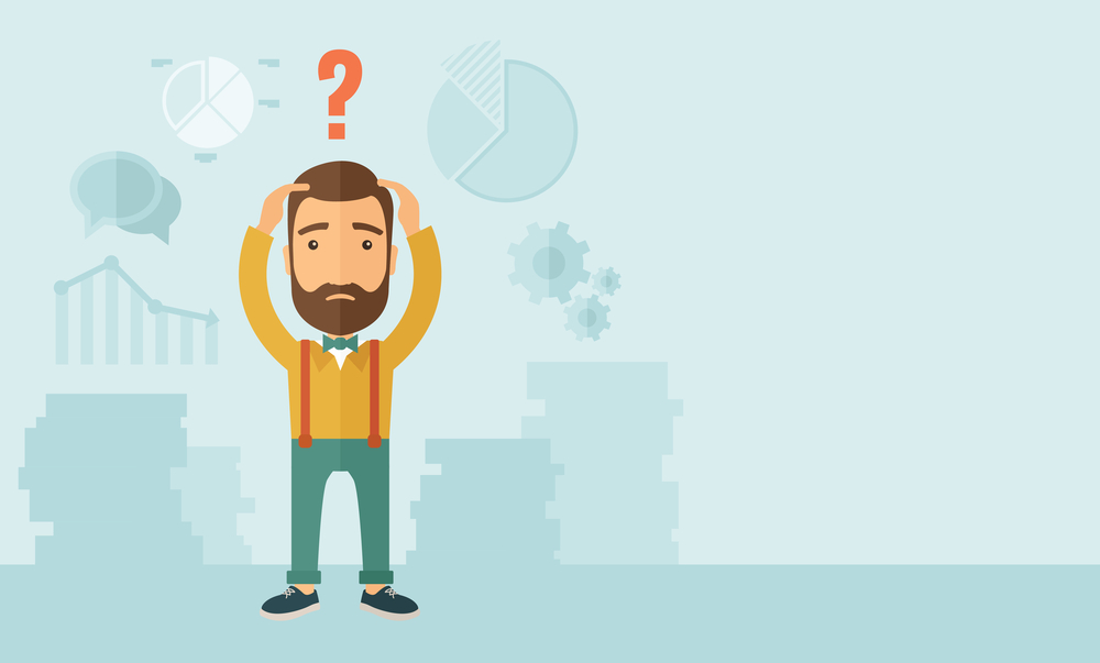 A sad Caucasian businessman with question mark over his head showing that he is in a big trouble. . A contemporary style with pastel palette, soft blue tinted background. Vector flat design illustration. Horizontal layout with text space in right side.