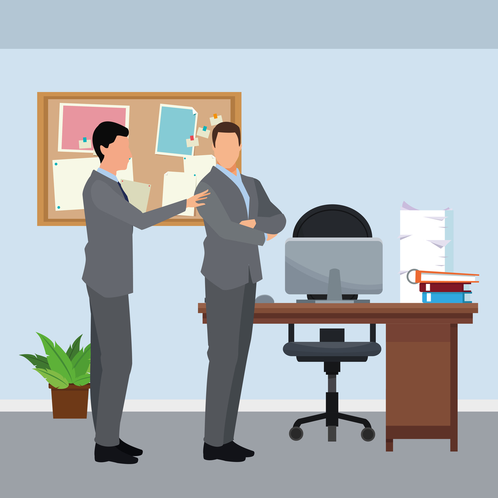 businessmen avatar cartoon character in the office vector illustration graphic design