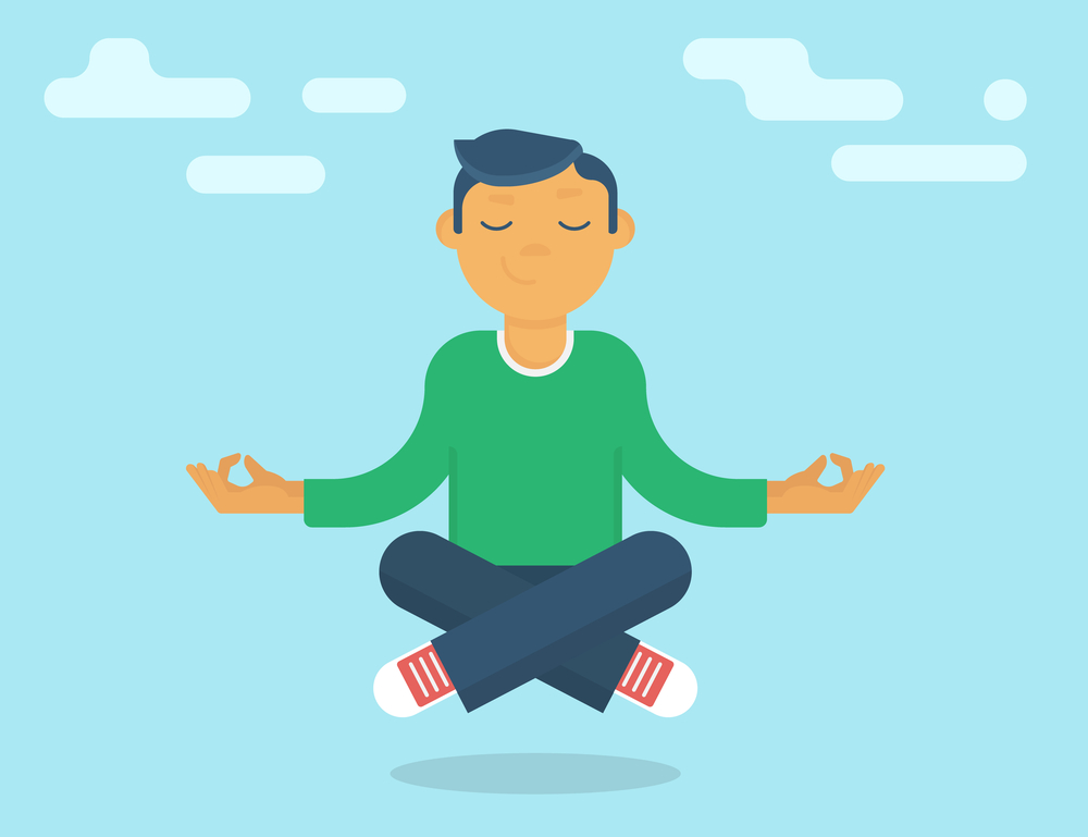 Calm guy meditating in the sky. Flat modern style