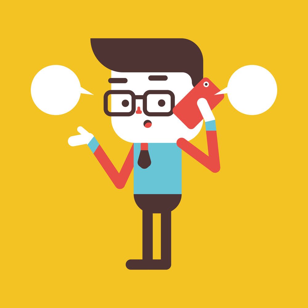 Character illustration design. Businessman using cell phone cartoon,eps