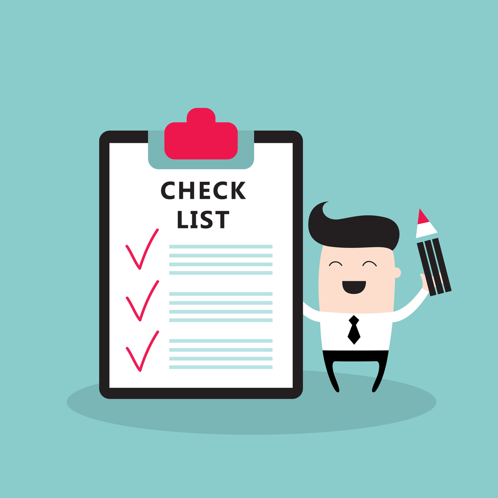 Happy businessman with checklist Successful business concept Vector illustration