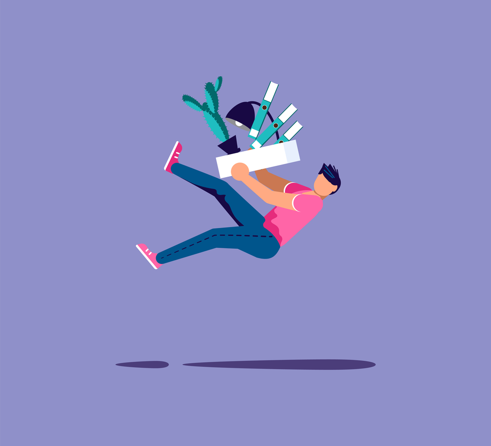 Fired man falling off with box with his things. Metaphor for staff reductions and layoffs. Isolated on purple. Flat Art Vector Illustration