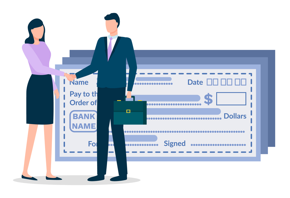 Businessman and businesswoman doing handshaking about deal. Man and woman stand near paychecks. Meeting for agreement about business. Payment using bank payroll. Vector illustration in flat style