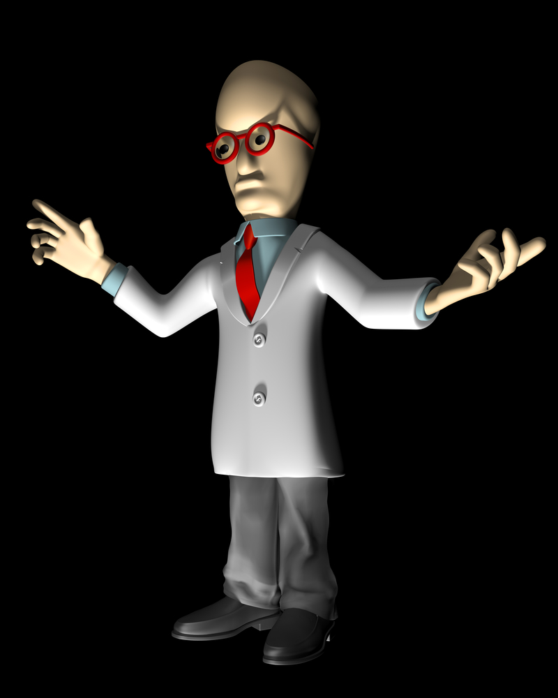 Mad scientist on a black background with a strong uplight
