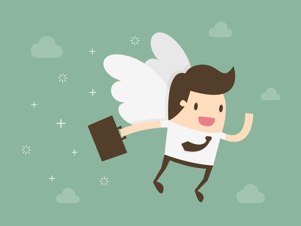 Angel investor. Business angel. Flat design business concept illustration.