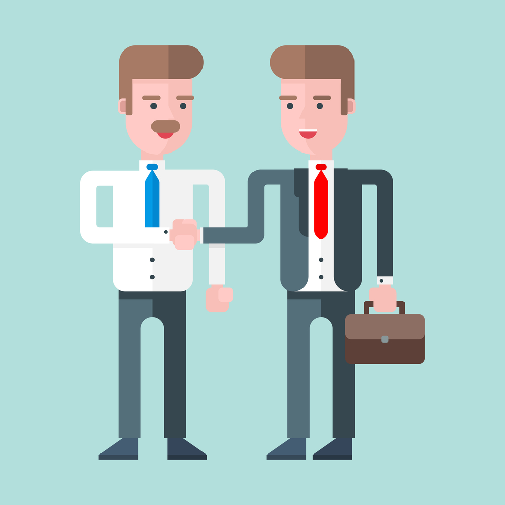 Two businessmen shaking hands. Flat vector illustration. Blue background