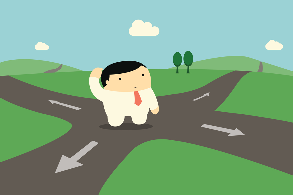 Cute character businessman standing alone at intersection, being confused and making decision to choose right way to go.