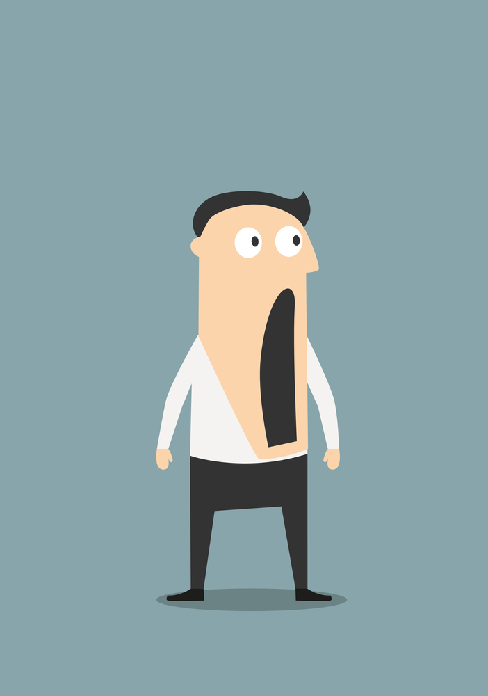 Surprised or shocked businessman with wide open mouth, for emotion expression concept design. Cartoon flat character