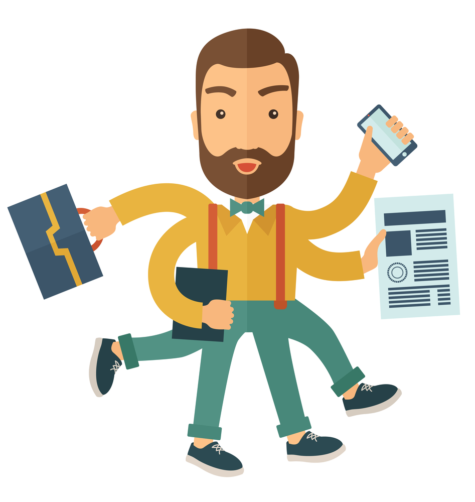 A multitasking job is a man with many hands with successful planning elements, can handle many paper works. Time management concept. A Contemporary style. Vector flat design illustration with isolated white background. Square layout.