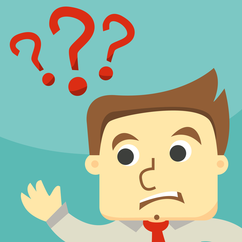 Business man scratches his head in indecision on a question mark , eps10 vector format