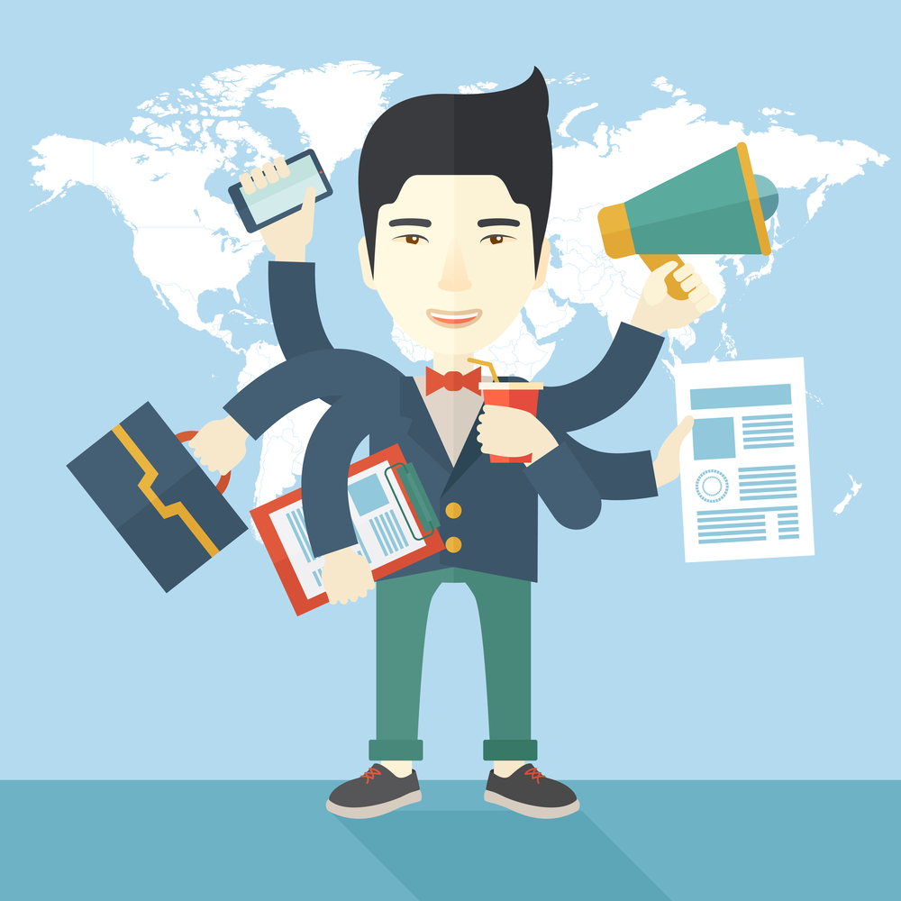 A young but happy japanese employee has six arms doing multiple office tasks at once as a symbol of the ability to multitask, performing multiple task simultaneously. Multitasking concept. A Contemporary style with pastel palette, soft blue tinted background. Vector flat design illustration. Square layout.