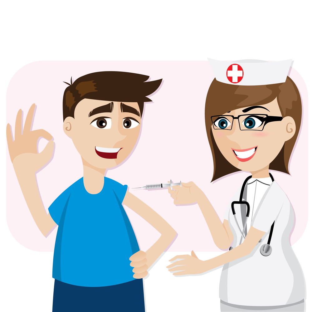 illustration of cartoon doctor vaccination for patient in healthcare concept