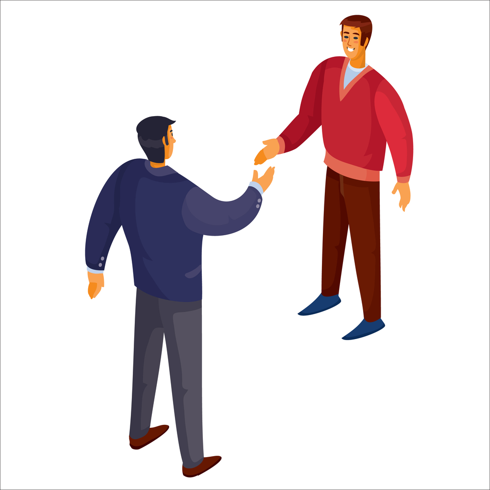 3d isometry, a man in a blue sweater shakes hands with a man in a red sweater, isolated object on a white background,