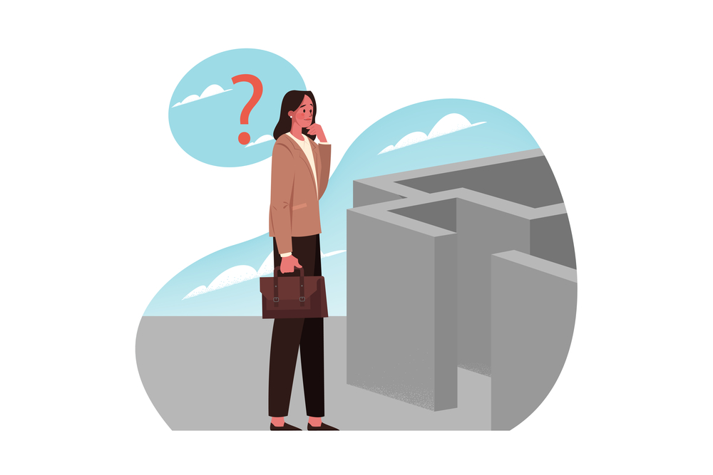 Problem, trouble, question, thinking, strategy, search, business concept. Thoughtful businesswoman clerk manager character stands near maze. Search for business strategy of problem or trouble solution