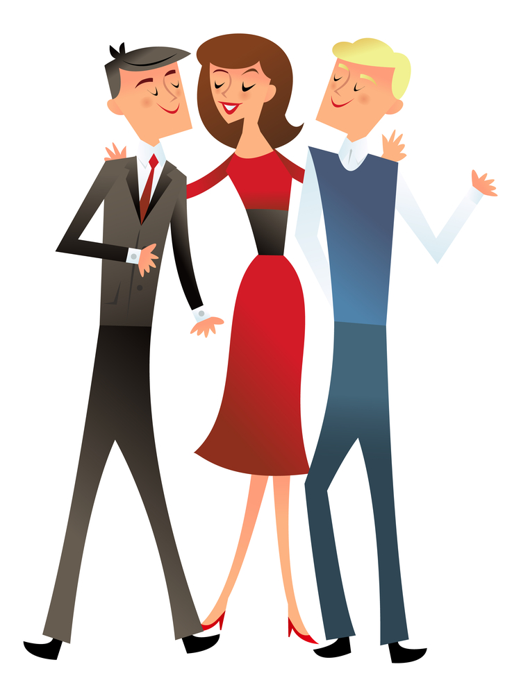 A vector illustration of a group of three happy office coworkers in the style of retro mid century modern.