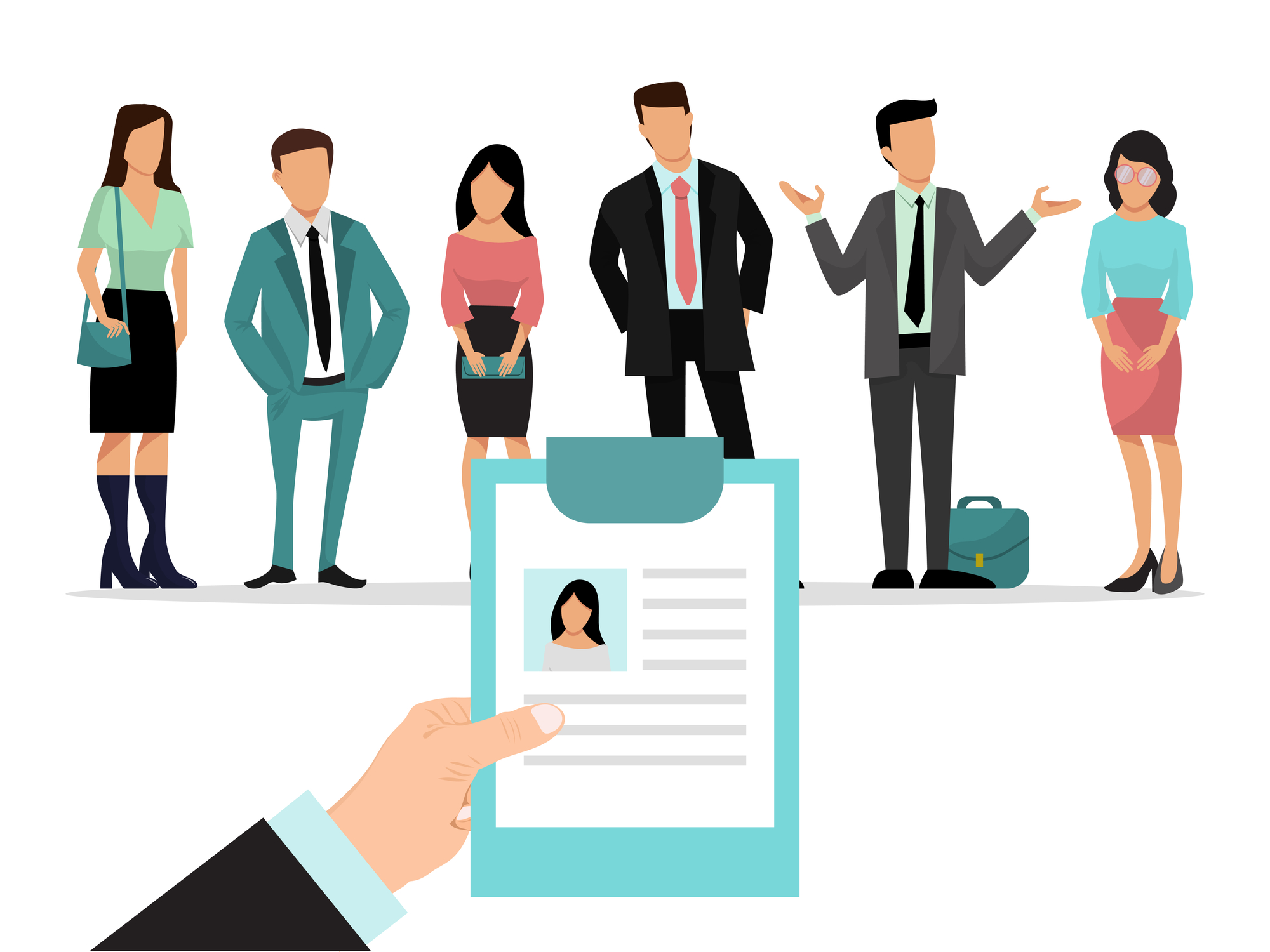 Employer is holding resume and choosing candidate for a job. Group of people employee in front of him. Recruitment business vector Illustration. Choosing ideal candidate among businesspeople