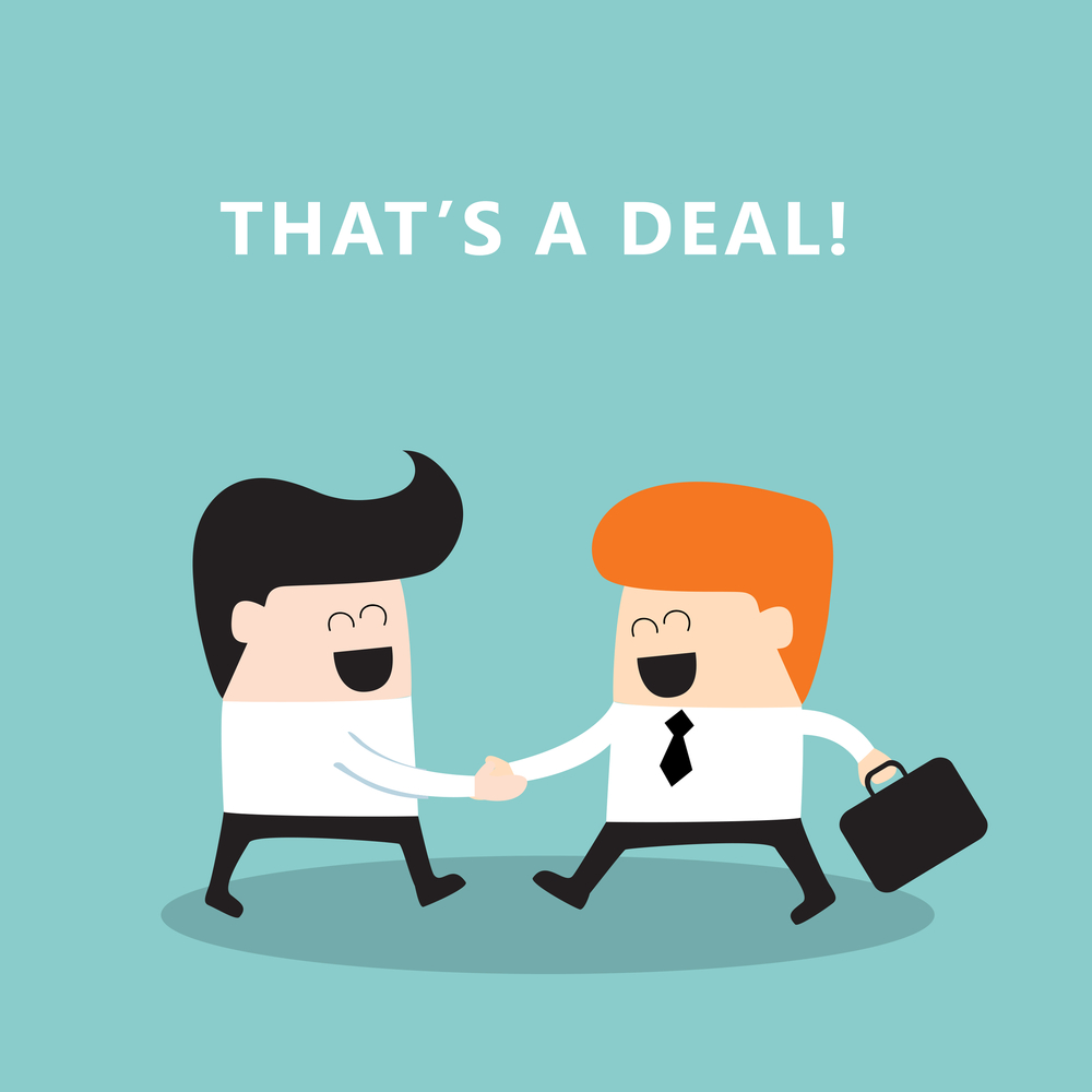 Business people shaking hands Businessmen making a deal successful business concept Vector illustration