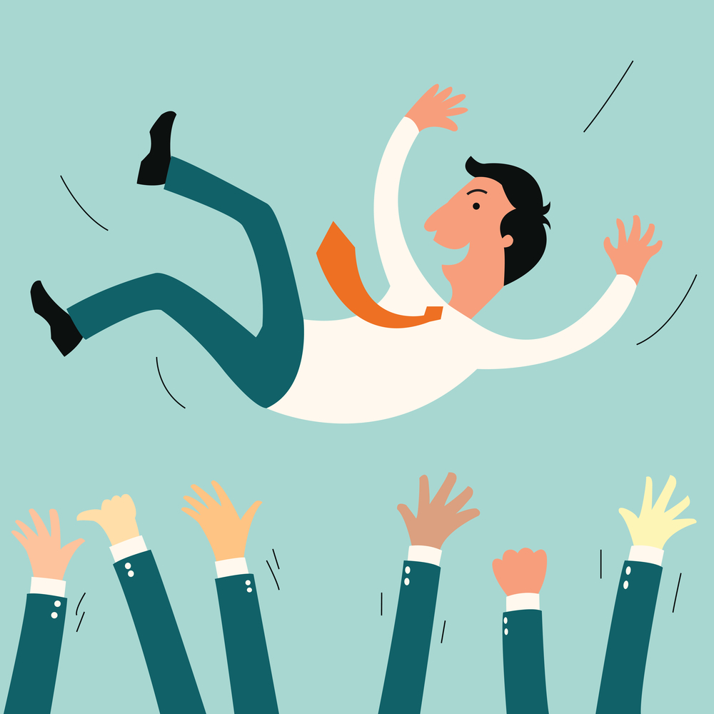 Successful businessman being thowing up by his teamwork or colleague. Feeling and emotion concept in success and team work.
