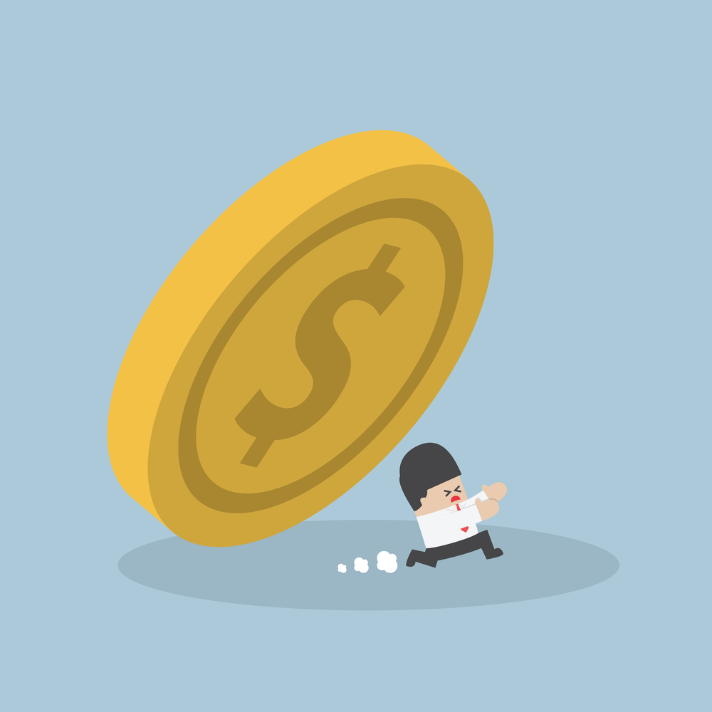 Businessman running away from falling dollar coin, VECTOR, EPS10